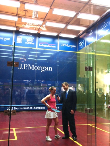 Natalie Grinham after semifinal win with Will Carlin
