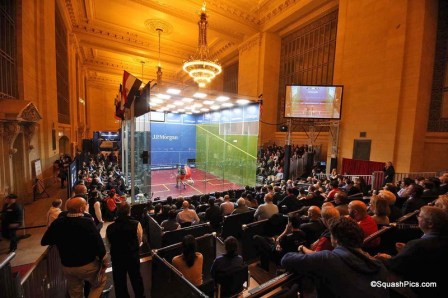 The glass court in Vanderbilt Hall at Grand Central during the Tournament of Champions