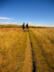 Single track through North Dakota Badlands