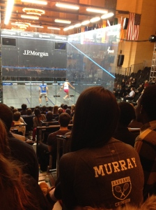 Harvard Squash cheers for Amanda Sobhy (vs. Raneem El Welily)