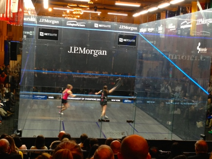 Nour El Sherbini doing what she does best
