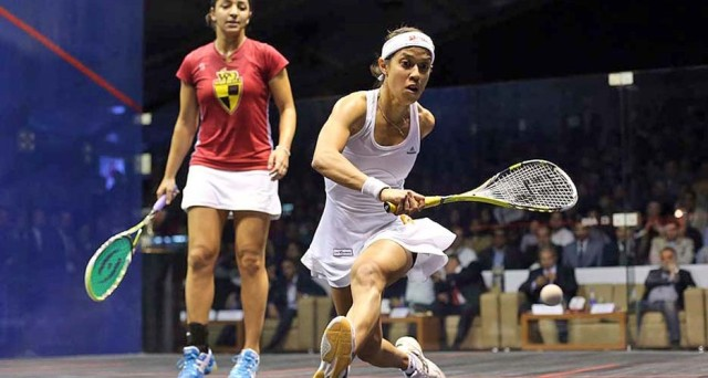 Nicol David stretching for her shot.