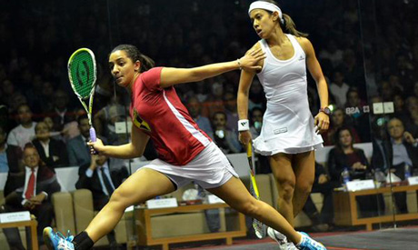 Raneem El Welily and Nicol David at World Squash Champions final in Cairo, 2014