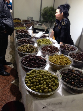 Many varieties of Greek olives at a market in Athens